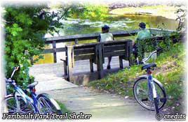 Citizens enjoying the Faribault Park Trail Shelter