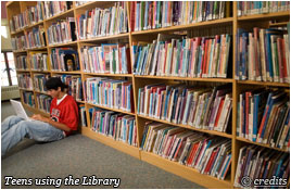 Teens using the Buckham Memorial Library