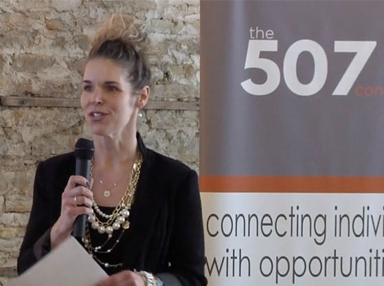 An image of Deanna Kuennen presenting to the 507 Connect group