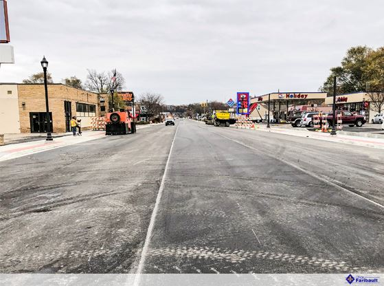 A picture that shows the roadway just after mainline paving was completed on November 1, 2019.