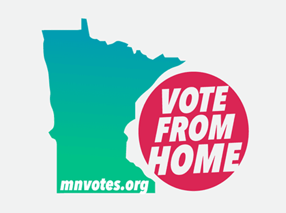 "A graphic that states ""vote from home"" with outline of the State of Minnesota"