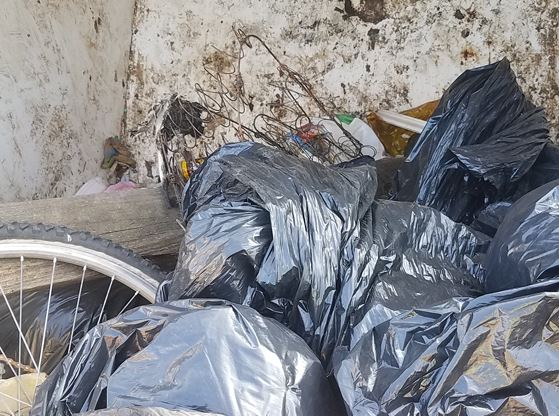 An image of trash bags, which were filled during a cleanup.