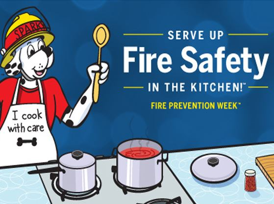 A Fire Prevention Week graphic showing Sparky the mascot in the kitchen cooking.