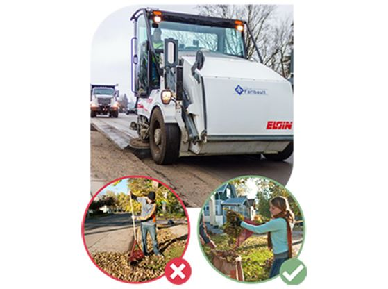 A graphic showing a city street sweeper