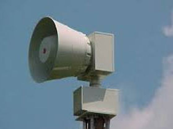 A picture of a siren used to warn people about severe weather.