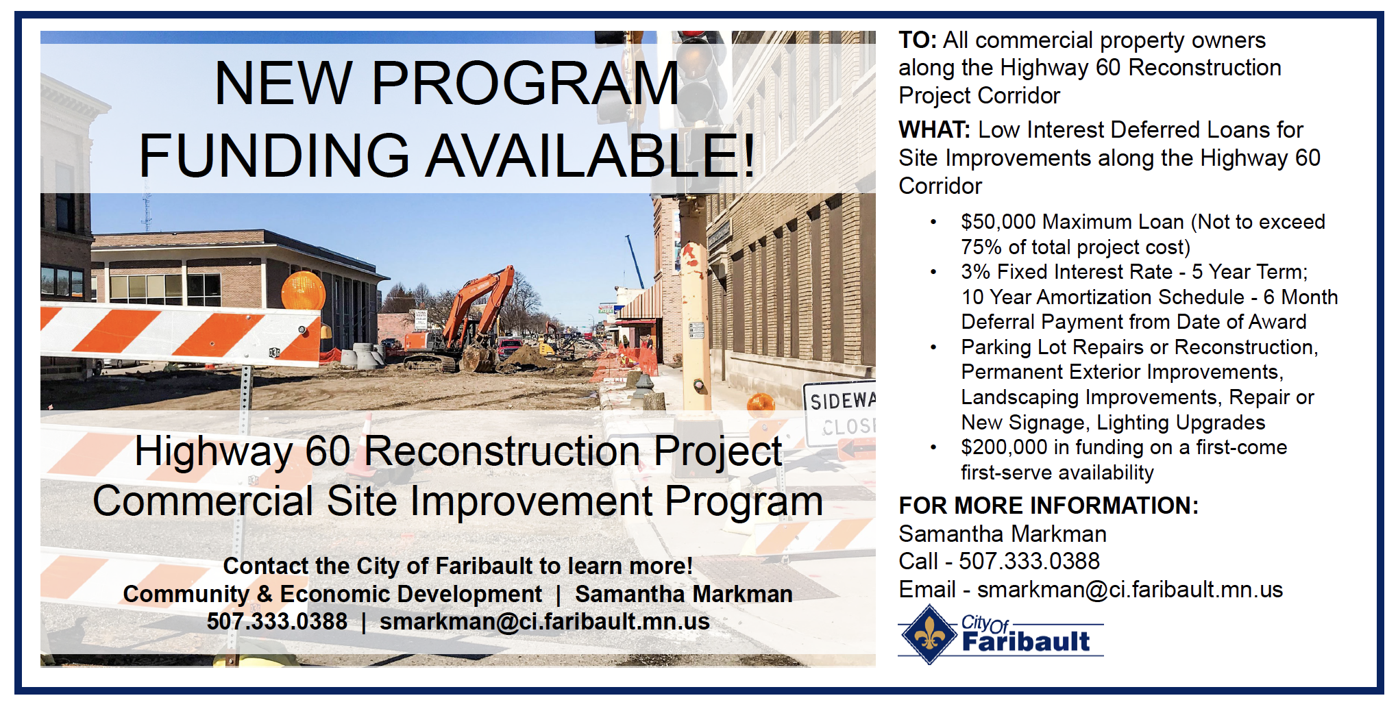 Highway 60 Reconstruction Project Commercial Site Improvement Program